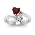 heart shaped diamond heart pair side stone ring with red ruby in 14K white gold FD1097HTRGRUDRANGLE5 NL WG