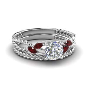 Platinum Bridal Ring Set With Ruby