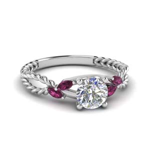 pink sapphire braided round cut engagement ring in FD1099RORGSADRPI NL WG.jpg