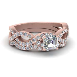 Intertwined Diamond Wedding Ring Set