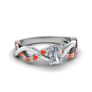 Radiant Cut Orange Topaz Ring