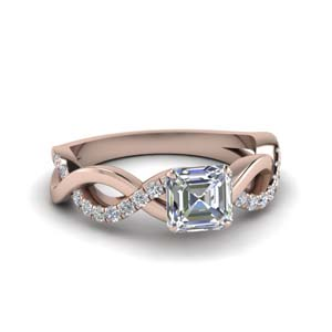 Asscher Cut Side Stone Diamond Ring
