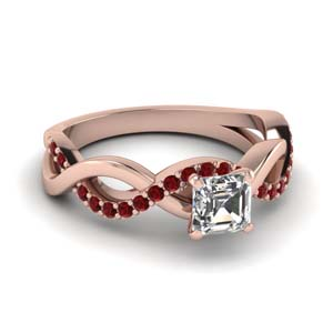 infinity asscher cut ruby engagement ring in FD1122ASRGRUDR NL RG GS
