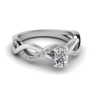 cushion cut diamond twisted engagement ring in FD1122CUR NL WG GS