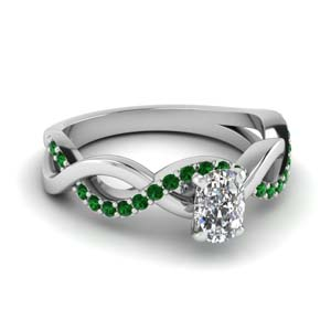 cushion cut emerald twisted engagement ring in FD1122CURGEMGR NL WG GS