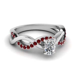 cushion cut ruby twisted engagement ring in FD1122CURGRUDR NL WG GS