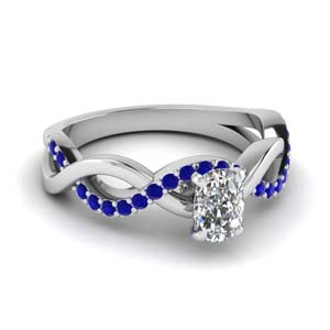 cushion cut sapphire twisted engagement ring in FD1122CURGSABL NL WG GS