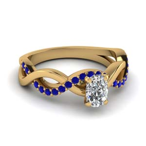 cushion cut sapphire twisted engagement ring in FD1122CURGSABL NL YG GS
