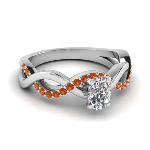 cushion cut orange sapphire twisted engagement ring in FD1122CURGSAOR NL WG GS