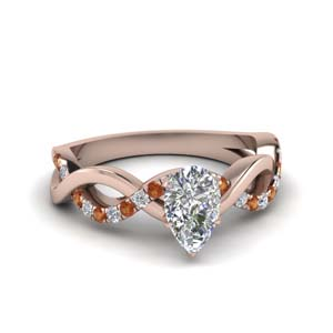 Orange Sapphire Infinity Diamond Ring