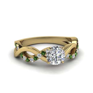 18K Yellow Gold Emerald Infinity Ring