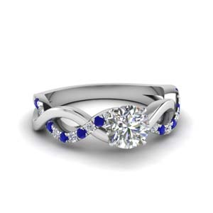 Round Diamond Rings With Sapphire