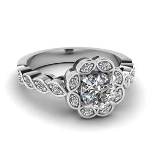 Pave Halo Round Diamond Ring