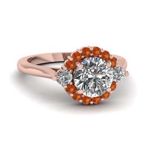 Cathedral Orange Sapphire Ring