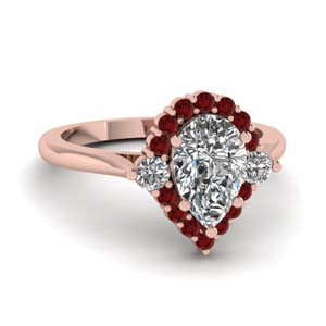 teardrop halo diamond low engagement ring with ruby in FD1140PERGRUDR NL RG