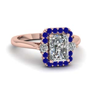 sapphire halo radiant diamond petite engagement ring in FD1142RARGSABL NL RG
