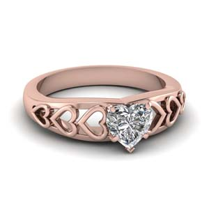 1 carat heart shaped solitaire diamond engagement ring in 14K rose gold FD1148HTR NL RG