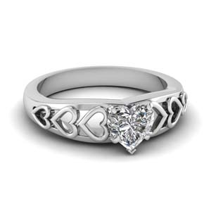 1 Carat Heart Solitaire Ring