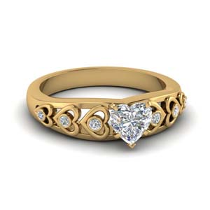 Heart Design Diamond Accent Ring