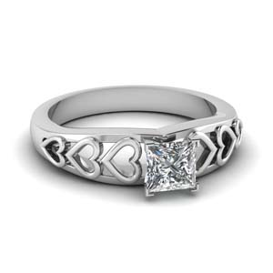 Heart Design Solitaire Ring