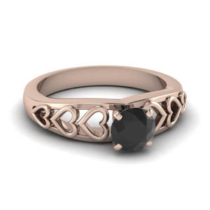 Heart Design Black Diamond Ring