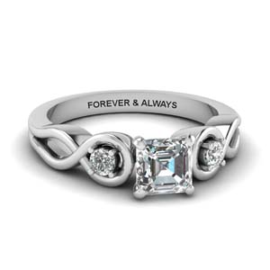 Asscher Cut Three Stone Rings