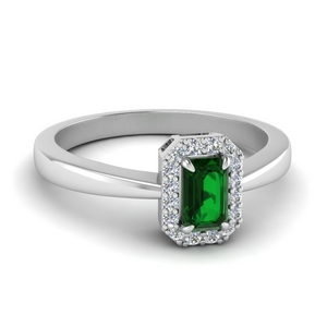 Emerald Halo Ring White Gold