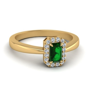 Gold Emerald Halo Ring