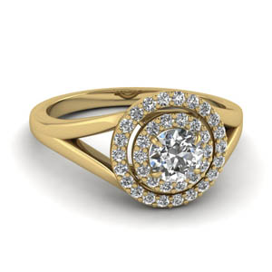 Moissanite Round Double Halo Ring