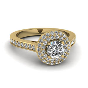 Pave Double Halo Diamond Ring