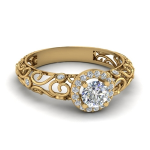 Dome Filigree Diamond Ring