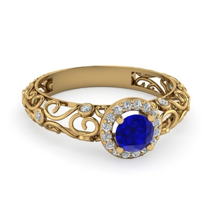 bezel filigree halo sapphire engagement ring in FD1199RORGBS NL YG AZ