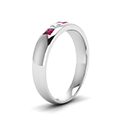 5 stone flush set diamond wedding band for men with pink sapphire in 14K white gold FD120146BGSADRPIANGLE2 NL WG