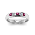 5 stone flush set diamond wedding band for men with pink sapphire in 14K white gold FD120146BGSADRPIANGLE5 NL WG