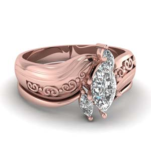 Twisted Diamond Bridal Ring Set