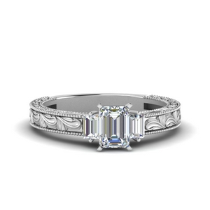 Antique Emerald Cut With Baguette Ring