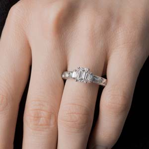 emerald cut with baguette diamond vintage engagement ring in 14K white gold FD120191R NL WG
