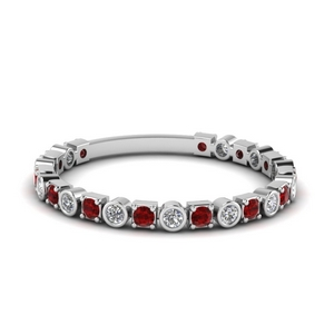 bezel and pave diamond wedding band with ruby in FD120583BGRUDR NL WG.jpg