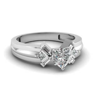 Unique Heart Moissanite Ring