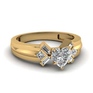 Heart Diamond Bar Baguette Ring