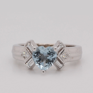 Heart Aquamarine Unique Ring