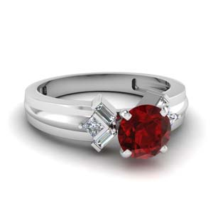 Tapered Baguette Ring With Ruby