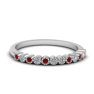 Flat Milgrain Ruby Band