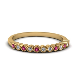 Gold Pink Sapphire Wedding Band