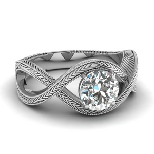 Crossover Milgrain Single Diamond Ring