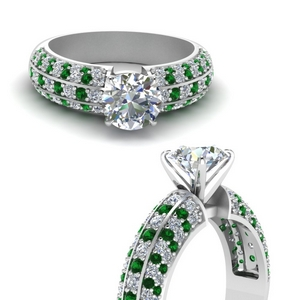 Emerald Multi Row Ring