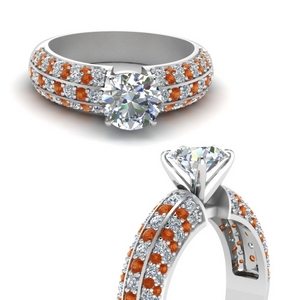 3 Row Pave Orange Sapphire Ring