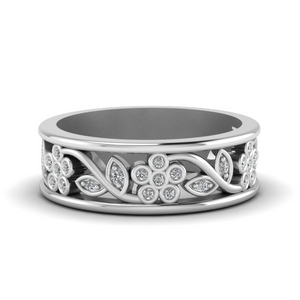 Floral Art Deco Wedding Bands