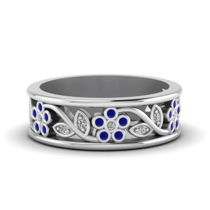 Flower Sapphire Wedding Band
