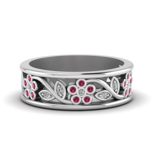 nature inspired diamond wedding band for women with pink sapphire in FD121712BGSADRPI NL WG